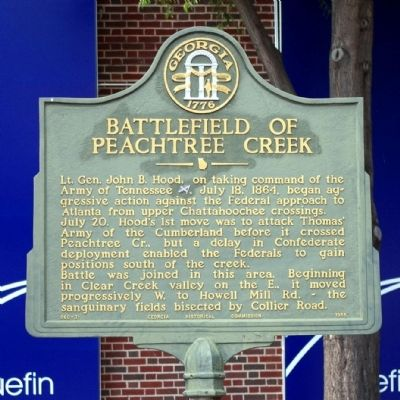 Battlefield of Peachtree Creek Marker image. Click for full size.