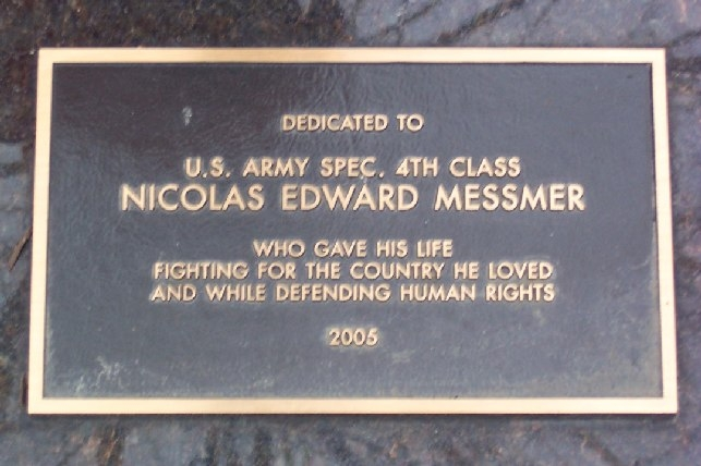 Nicolas Edward Messmer Memorial Marker