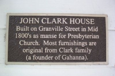 John Clark House Marker image. Click for full size.