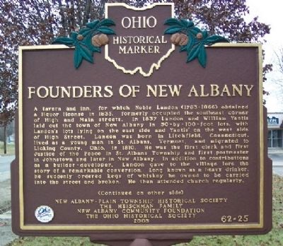 Founders of New Albany Marker (Side A) image. Click for full size.
