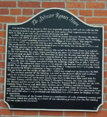 The Sylvester Ranney House Marker image. Click for full size.