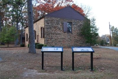 The Old Stone Church Marker (Left) and Church in Distance image. Click for full size.