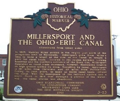 Millersport and the Ohio-Erie Canal Marker image. Click for full size.