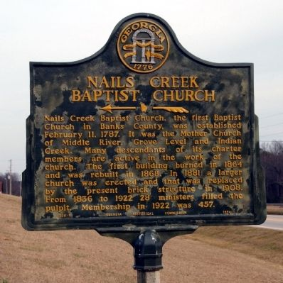 Nails Creek Baptist Church Marker image. Click for full size.