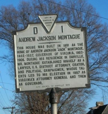 Andrew Jackson Montague Marker image. Click for full size.