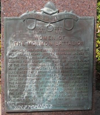 Front Marker: Women of the Mormon Battalion Marker image. Click for full size.