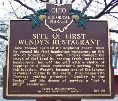 Site of First Wendy's Restaurant Marker image. Click for full size.