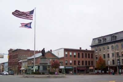 Champaign County Civil War Memorial at heart of downtown Urbana image. Click for full size.