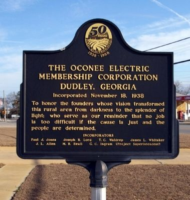The Oconee Electric Membership Corporation Marker image. Click for full size.