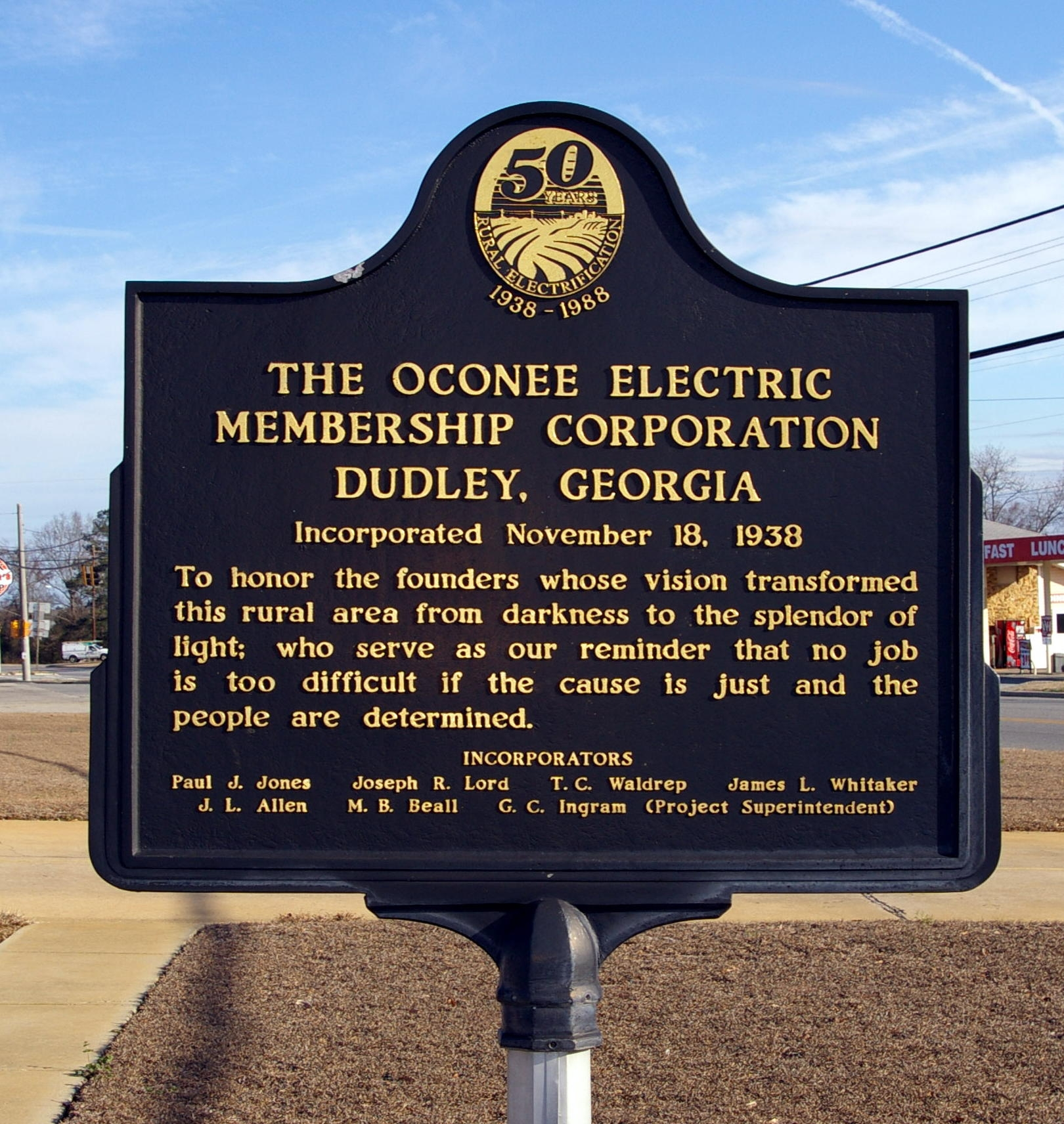 The Oconee Electric Membership Corporation Marker
