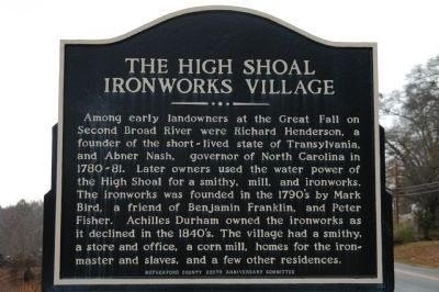 The High Shoal Ironworks Village Marker image. Click for full size.