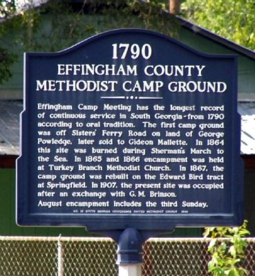 Effingham County Methodist Camp Ground Marker image. Click for full size.