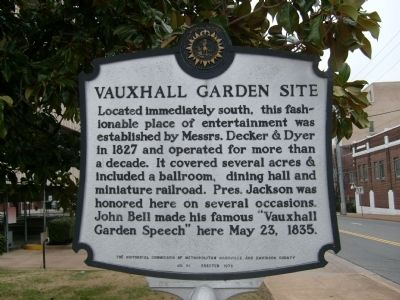 Vauxhall Garden Site Marker image. Click for full size.