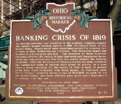 Banking Crisis of 1819 Marker (Side A) image. Click for full size.