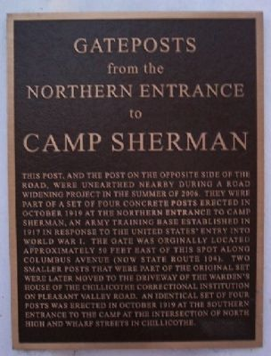 Gateposts from the Northern Entrance to Camp Sherman Marker image. Click for full size.