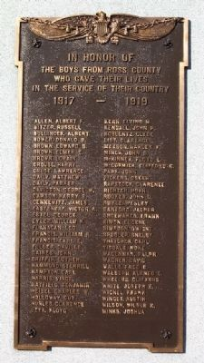 Ross County World War I Memorial Honor Roll image. Click for full size.