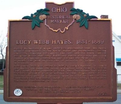 Lucy Webb Hayes, 1831 - 1889 Marker (Side B) image. Click for full size.