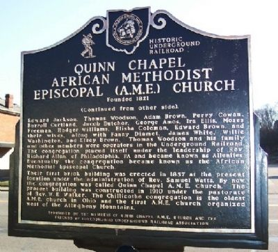 Quinn Chapel African Methodist Episcopal (A.M.E.) Church Marker (Side B) image. Click for full size.