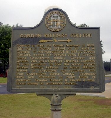 Gordon Military College Marker image. Click for full size.