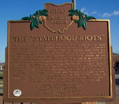 "The ""Statehood Riots"" Marker (Side A) image. Click for full size."