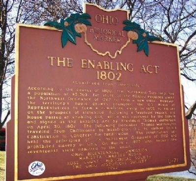 The Enabling Act 1802 Marker image. Click for full size.