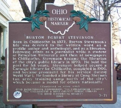 Burton Egbert Stevenson Marker (Side A) image. Click for full size.