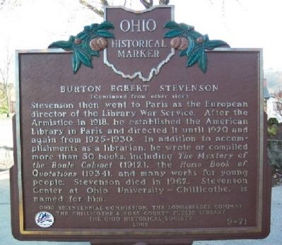 Burton Egbert Stevenson Marker (Side B) image. Click for full size.