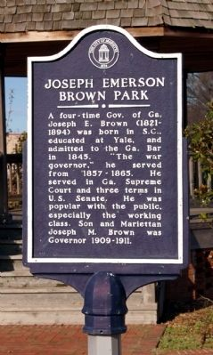 Joseph Emerson Brown Park Marker image. Click for full size.