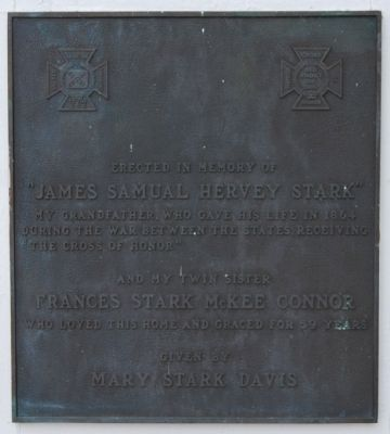 James Samuel Hervey Stark Plaque<br>Located on the Front Porch image. Click for full size.