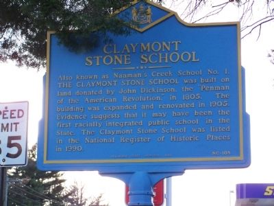 Claymont Stone School Marker image. Click for full size.
