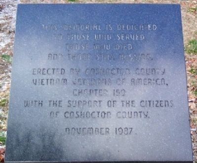 Coshocton County Vietnam War Memorial image. Click for full size.
