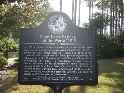 Point Peter Battery and the War of 1812 Marker image. Click for full size.