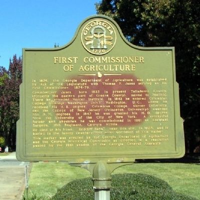 First Commissioner of Agriculture Marker image. Click for full size.