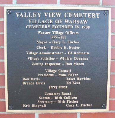 Valley View Cemetery Marker image. Click for full size.