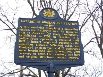 Lazaretto Quarantine Station Marker image. Click for full size.