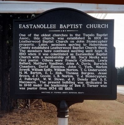 Eastanollee Baptist Church Marker image. Click for full size.