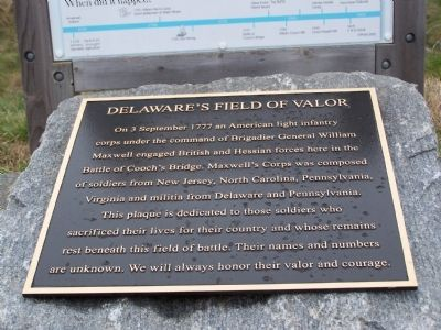 Delaware's Field of Valor Marker image. Click for full size.