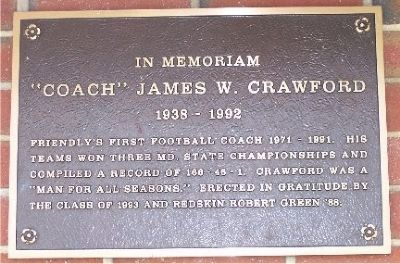 """Coach"" James W. Crawford Marker image. Click for full size."