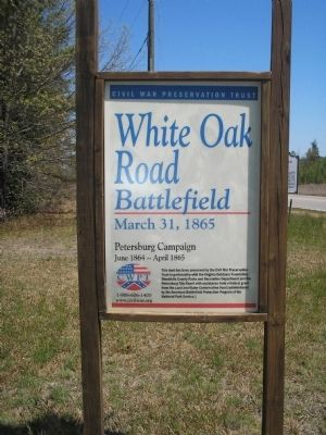 CWPT White Oak Road Battlefield Sign image. Click for full size.