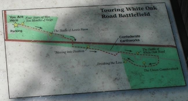 The Battle of White Oak Road Walking Trail Map image. Click for full size.