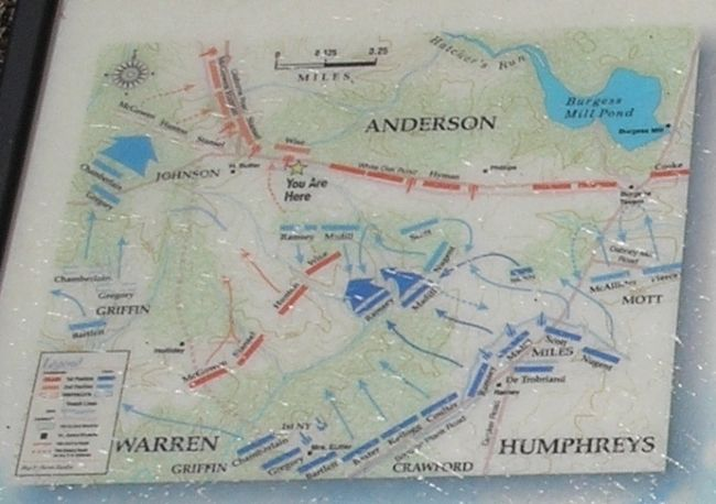 The Battle of White Oak Battle Map from Marker image. Click for full size.