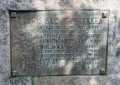 The Civil War Memorial Grove Marker image. Click for full size.