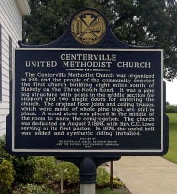 Centerville United Methodist Church Marker, Side 2 image. Click for full size.