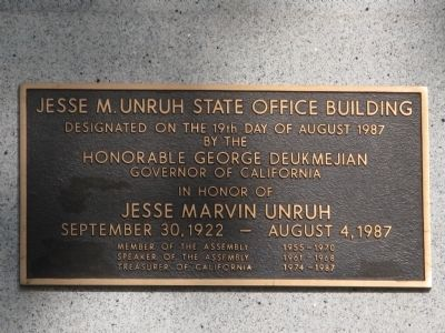 Jesse M. Unruh State Office Building Marker image. Click for full size.