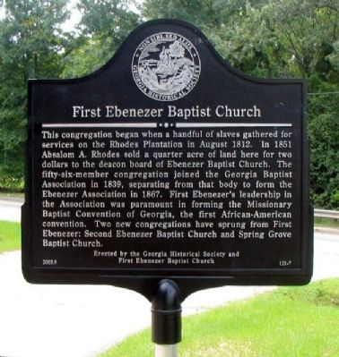 First Ebenezer Baptist Church Marker image. Click for full size.