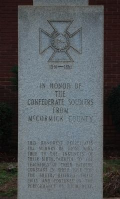 McCormick County Confederate Monument - East Side image. Click for full size.