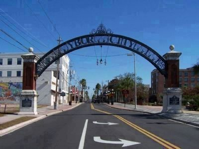Ybor City Historic District Gateway spanning E. Broadway Ave. ( 7th Ave.) image. Click for full size.