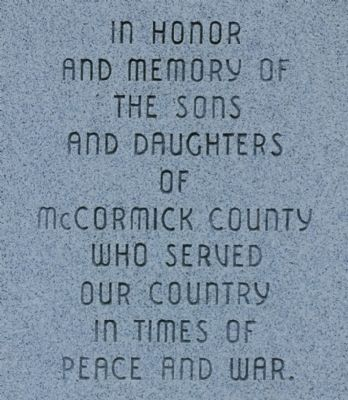 McCormick County Veterans Monument Marker image. Click for full size.