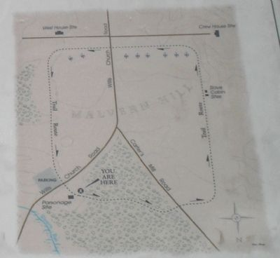 Malvern Hill Hiking Trail Map from Marker image. Click for full size.