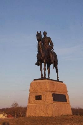 Maj. Gen. George Gordon Meade statue at dusk. image. Click for full size.